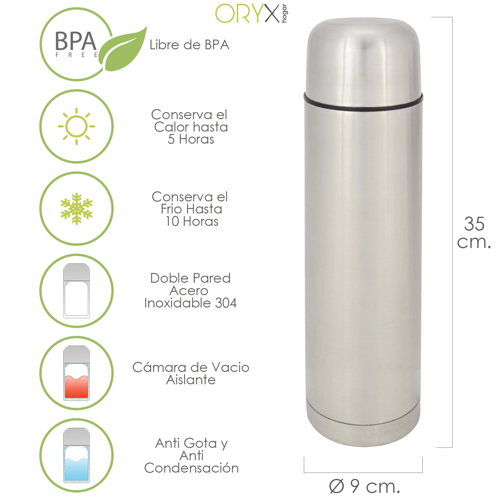 Oryx 5075015 Termo Liquidos Acero Inoxidable Antigoteo 1 Litro: Amazon.es: Hogar