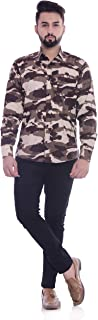 6TH AVENUE STREETWEAR Men's Cotton Camouflage Army Print Full Sleeves Shirt - Brown
