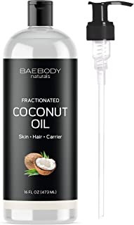 Baebody Naturals Fractionated Coconut Oil - Moisturizing and Softening for Face, Skin, Hair & Nails. Premium Oil for Daily Hydration and Shine. Value Size - 16 fl oz. with Pump