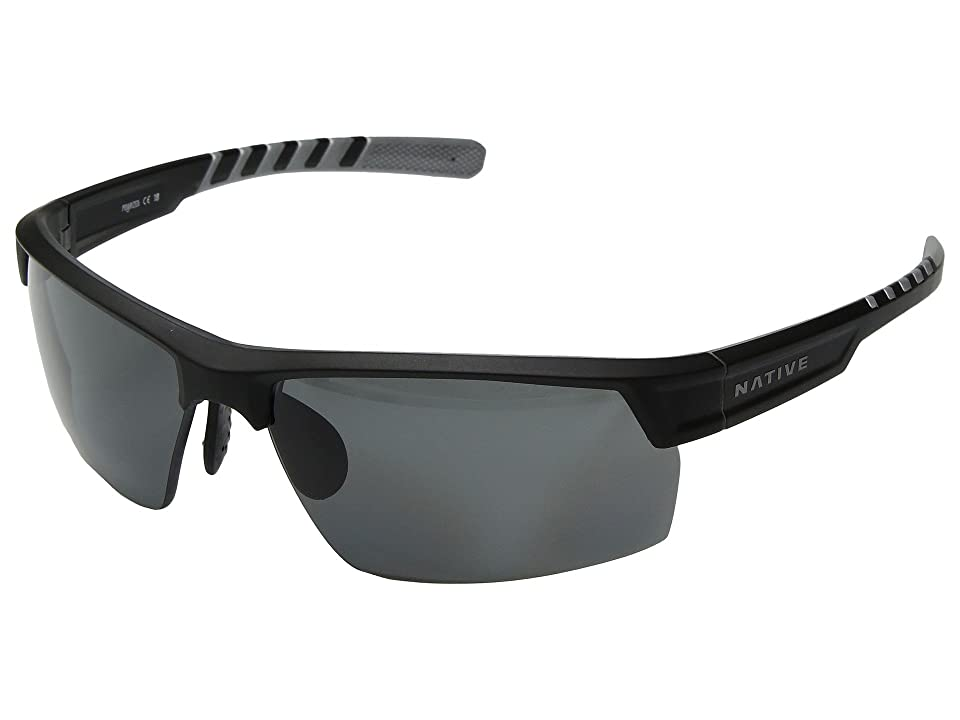 Native Eyewear Catamount (Matte Black/Crystal/Gray Polarized Lens) Athletic Performance Sport Sunglasses