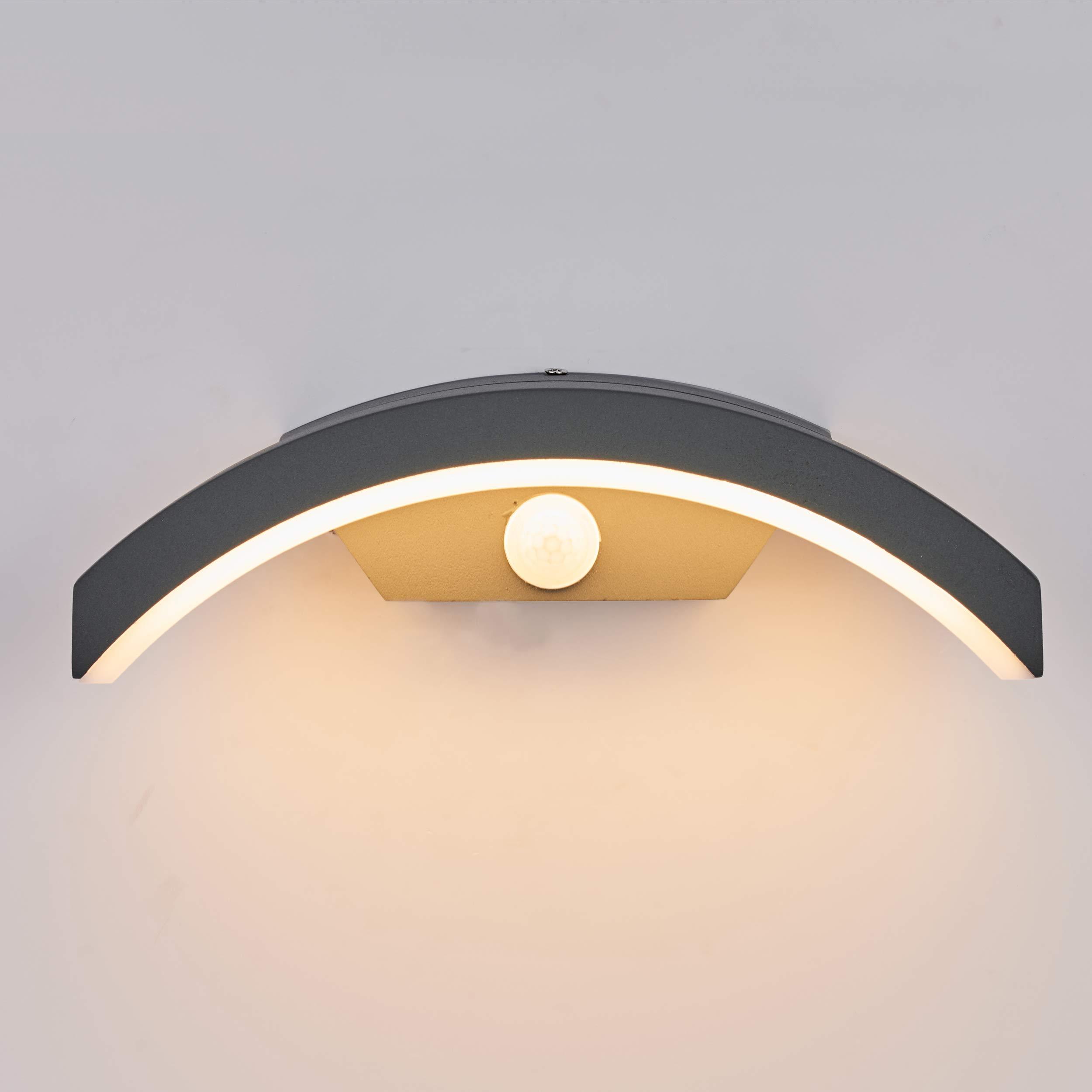 Topmo-plus 24W LED Focos pared Exterior/Osram SMD/apliques pared IP65 jardín, Garaje, Patio, Camino, Eacaleras, Pasillo, Terraza, Camino de Entrada 27CM gris/blanco cálido (Sensor de Movimiento): Amazon.es: Iluminación