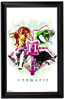 Harry Potter Wall Art Decor Framed Print | 24x36 Premium (Canvas/Painting like) Textured Movie Poster | Hogwarts House Crest Hufflepuff, Ravenclaw, Slytherin Memorabilia Gifts for Guys & Girls Bedroom