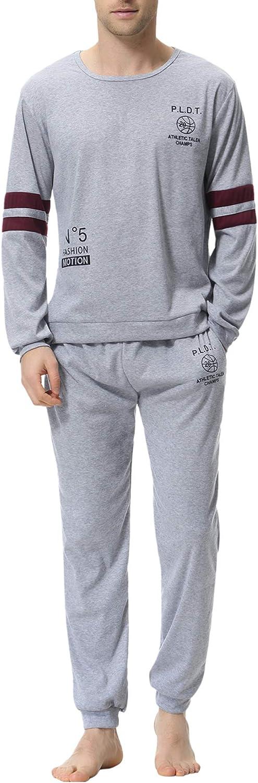 Aiboria Men's Pajamas Set Cotton Long Sleeve Top and Pants Soft Sleepwear Lounge Set