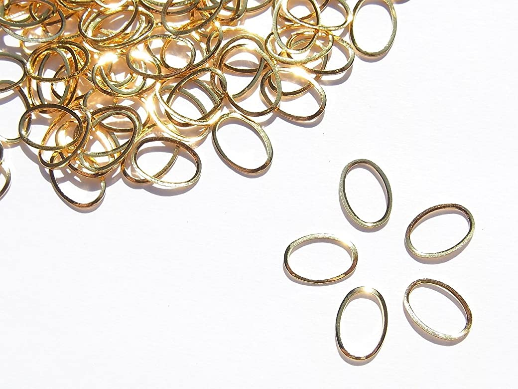 としてフィルタ報酬【jewel】メタルフレームパーツ オーバル型 7.5mm×5mm 10枚入り ゴールド 金 (カーブ付きフラットタイプ)素材 材料 レジン ネイルアート パーツ 手芸