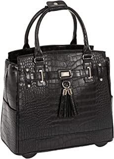 """JKM and Company Timeless Black Alligator Crocodile Rolling Compatible with Computer iPad Tablet or Laptop Tote Carryall Bag 17"""" 17.3"""" inch Black JKM-TMLS"""