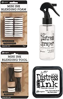 Tim Holtz Distress Bundle of 4 Items - Sprayer, DIY Ink Pad, Blending Tools, and Blending Foams