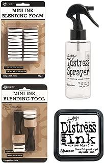 Tim Holtz Distress Bundle of 4 Items - Sprayer, DIY Ink Pad, Blending Tools, and Blending Foams