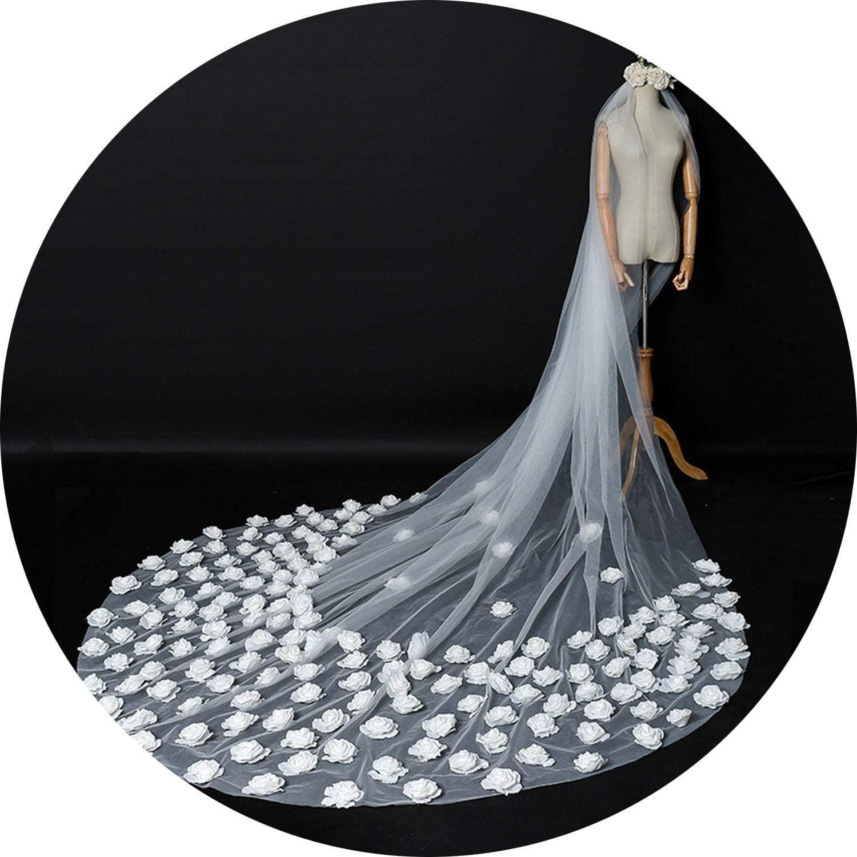ThreeDimensional Flower Big Tail Inserted Comb White Veil Photo Bride Veils Long Wedding Long Veil Cathedrals,White,350Cm