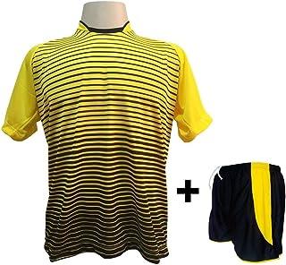 df96871738871 Uniforme Esportivo com 12 camisas modelo City Amarelo Preto + 12 calções  modelo Copa Preto
