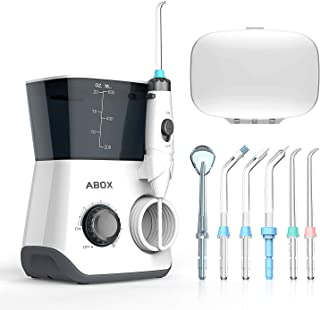 Water Flosser, ABOX Dental Oral Irrigator 600ml Capacity with 8 multifunctional Tips 10 Water Pressures Countertop Dental Flosser(FDA Approved)
