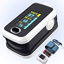 Pulse oximeter fingertip with Plethysmograph and Perfusion Index, Portable Blood Oxygen Saturation Monitor for Heart Rate ...