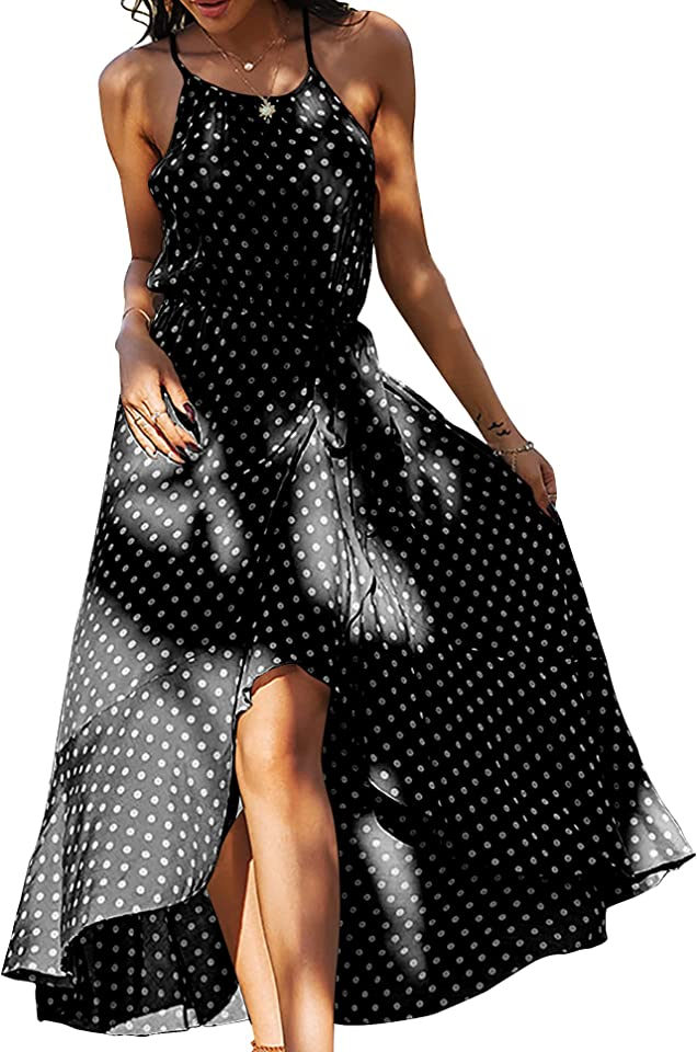 Womens Summer Midi Polka Dot Dress Vintage Boho Sleeve Beach Dresses Maxi Dress Sexy V Neck Front Crossover Bow Tie Dress