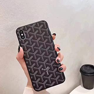 GD Style Shockproof Slim Full Body Protective TPU x PU Leather Case for Apple iPhone 6/7/8 Plus X/XS XR Max (Black, iPhoneX/Xs)