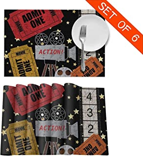 Whimsical Circus Theatre Ticket Admit One Movie Placemats Set of 6 Washable Table Place Mats for Kitchen Dining Table Home Decoration 12 X 18 Inch