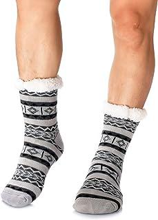 WOTENCE, Calcetines forro polar para hombre, cálidos, extra gruesos, antideslizantes,Hombre Navidad Pantuflas Invierno Calcetines