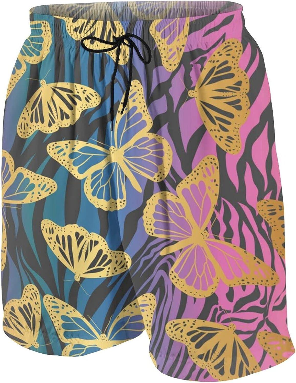 Golden Butterfly Teen Boys Quick Dry Surf Swim Trunk Novelty Youth Summer Beach Board Shorts