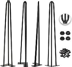 30 Inch Hairpin Legs 1/2 Inch Tick - Satin Black - Leg Protectors, Screws, Set of 4 – Easy to Install - Metal Legs - Desk Legs - Furniture Legs - Mid Century Modern by Homeland Hardware