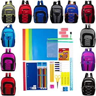 """17"""" Assorted Backpacks with 48 Piece School Supply Kit - Bulk Case of 18 Wholesale Backpacks and Kits"""