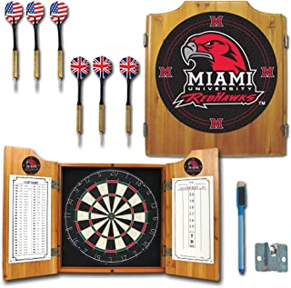 NCAA Miami University Wood Dart Cabinet Set