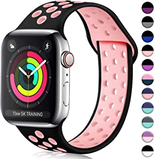 ilopee Cute Bands Seamless Fit for iWatch Series 5 4 3 2 1 38mm 40mm, Black/Pink, S/M