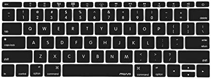 MOSISO Silicone Keyboard Cover Protective Skin Compatible MacBook Pro 13 Inch 2017 & 2016 Release A1708 Without Touch Bar, New MacBook 12 Inch A1534, Black
