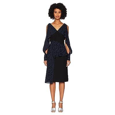 YIGAL AZROUEL Navy Abstract Geo Pattern Combo Dress (Jet Sapphire) Women