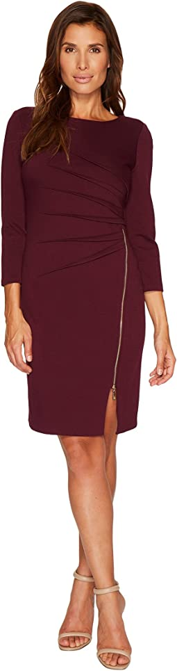 Ivanka Trump - Ponte Startburst Zipper Long Sleeve Dress