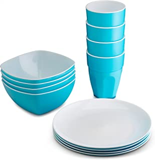 PLASTI HOME Reusable Plastic Dinnerware Set (12pcs) – Ideal for Kids. Fancy Hard Plastic Plates, Bows & Cups in Blue Colors – Microwaveable & Dishwasher Safe Flatware & Tumblers for Daily Use