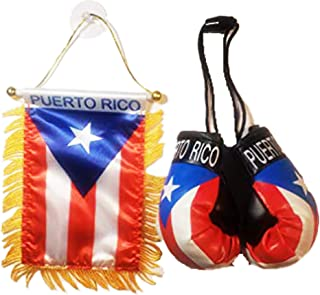 Best Rainbow Trading Flag and Boxing Gloves Combo Car Rear-View Mirror Office Decor… (Puerto RICO) Review