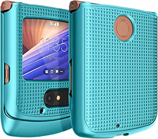 Case for Motorola RAZR 5G Flip Phone, Nakedcellphone [Teal Mint Cyan] Protective Snap-On Hard Shell Slim Cover [Grid Textu...
