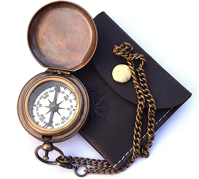 Men's Steampunk Accessories: Googles, Cane, Gloves Handmade Nautical Brass Push Open Compass On Chain with Leather Case Pocket Compass Gift Compass  AT vintagedancer.com
