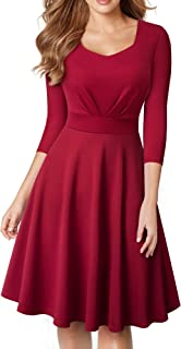 Women's Square Neck 3/4 Sleeve Christmas Fit and Flare Dress A132