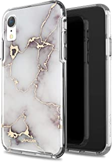 JAHOLAN iPhone XR Case 3D Design Shiny Gold Vein White Marble Reinforced Clear Bumper Hybrid Cushion Scratch Resistant Shockproof Hard Back Panel Cover Phone Case for iPhone XR 2018 6.1 inch