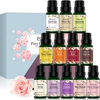 Essential Oils Set, ESSLUX 100% Pure & Natural Floral Collection with Gardenia, Cherry Blossom, Jasmine, White Tea, and More, Aromatherapy Essential Oil for Diffuser, Massage, Skin&Hair Care, 12x10ml