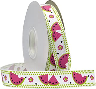 Morex Ribbon Watermelon Grosgrain Fabric Ribbon with 7/8-Inch by 25-Yard Spool, Hot Pink