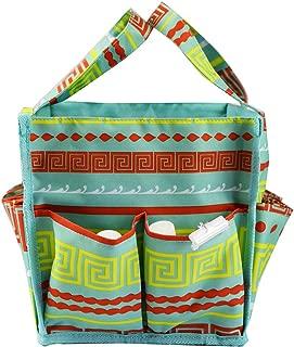 April Fashions NHY009-16-TO Organizer Caddy Tote, Craft Organizer, Lucky Bingo Bag, Baby Diaper Bags, Green Greek Key Pattern