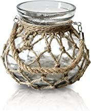 Funsoba Rustic Hanging Creative Rope Net Dry Flower Glass Vase with Handle Cancel Holder (Medium 1 pcs)