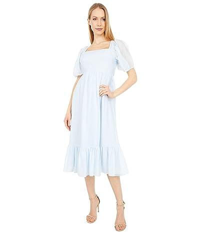 WAYF Lucca Midi Short Sleeve Gathered Dress (Blue Organza Stripe) Women