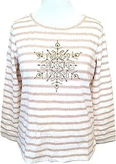 Sport MED Long Sleeve Embellish Snowflake Striped Sweatshirt Top White