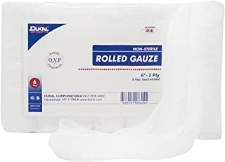 Dukal 406 Rolled Gauze, Non-Sterile, 6