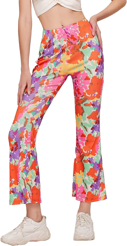 Milumia Women's Tie Dye Flare Leg Elastic High Waist Pants Casual Boot Cut Trousers