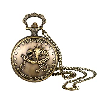 Men's Pocket Watch Vintage Bronze Steampunk Skull Decorative Case Arabic Numeral Dial Quartz Analog Pocket Watch with Chain for Halloween Costume Party Christmas