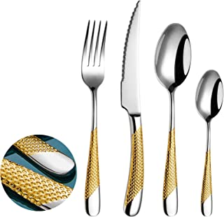 مجموعة أدوات المائدة الفضية والذهبية المكونة من 16 قطعة ، مجموعة أدوات المائدة الفضية من الفولاذ المقاوم للصدأ 18/10 خدمة ...