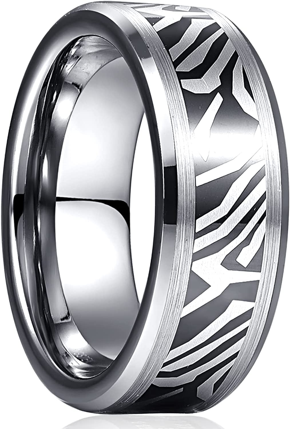 TUNGSTORY Tungsten Carbide Damascus Wedding Ring for Men 8mm Scratch Resistant Brushed Finish Comfort Fit