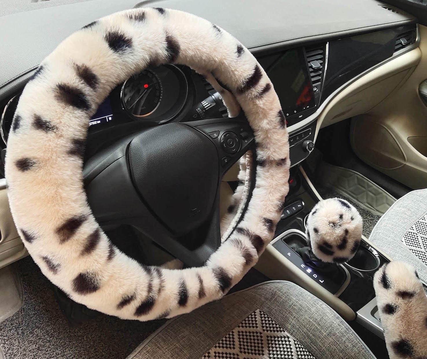 Winter Warm Fluffy Furry Fuzzy Car Steering Wheel Cover,Universal Fit Thickening Faux Fur Plush Steering Covers+Gear Shift Cover and+Brake cover-3pcs Set Beige/&Leopard