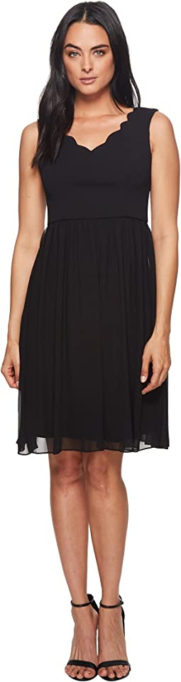 Adrianna Papell Knit Crepe Scalloped Fit & Flare