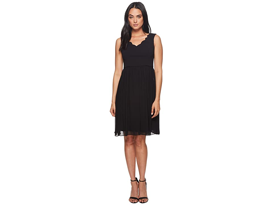 Adrianna Papell Knit Crepe Scalloped Fit Flare (Black) Women