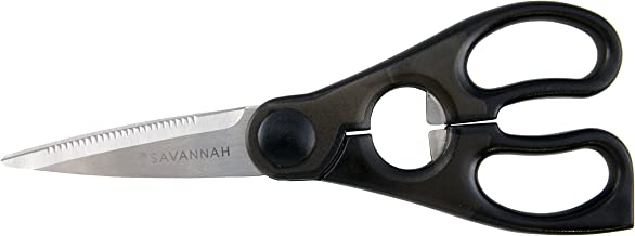 Savannah Kitchen Scissors Made from Durable Stainless Steel for Professional Performance with Built-in Fish Scaler, Bottle Opener, Nut/Lobster Cracker and Lid/Ring Tab Lifter 80 Millimetre Blades