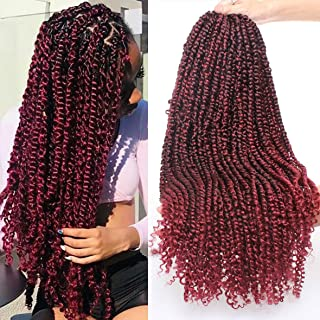 Leeven 6 Packs Pre-twisted Passion Twist Crochet Hair 22 Inch Ombre Color Hair for Passion Twist Braiding Curly Ends Hair Extensions 15 Roots/pack TBUG#