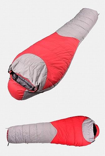 L@ily Sac de Couchage Momie pour Les Adultes, Sacs de Couchage pour Camping Chaud léger épissé enveloppe Sacs de Couchage avec Compression Sac idéal Gear pour randonnée Backpacking,rouge